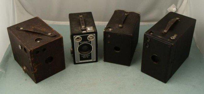4 Old Kodak Box Cameras: Brownie Buster Brown Bulls Eye
