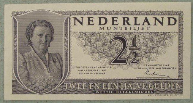 Netherlands Crisp UNC 1949 2 1/2 Gulden Currency
