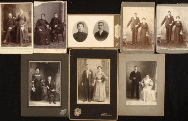 8 Antique Cabinet Card Photographs 1890s Couples