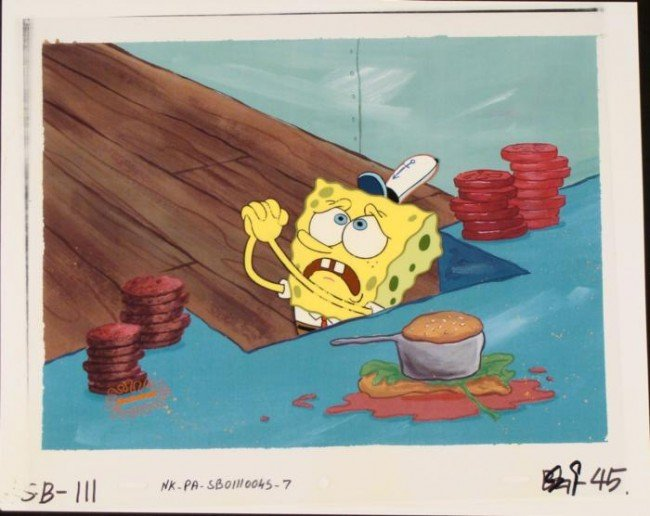 Original Cel Pleading Production Background Spongebob