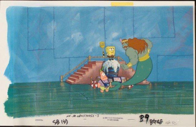 Spongebob Not Pleased Original Cel Animation Background