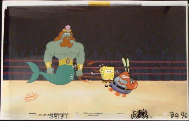Background Spongebob Original Lets Rumble Animation Cel