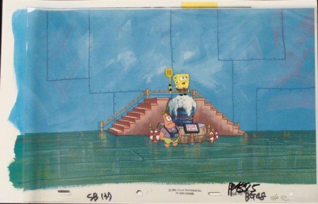 Background Production Oh Boy Original Cel Spongebob