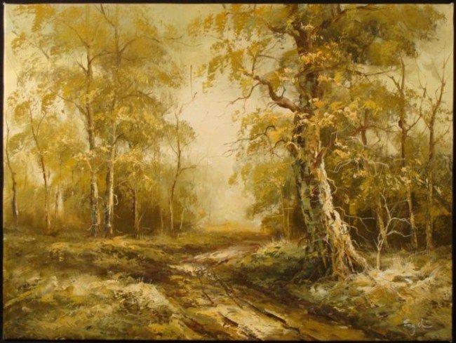 Engel Original Oil Painting Kentucky Autumn Nature Art