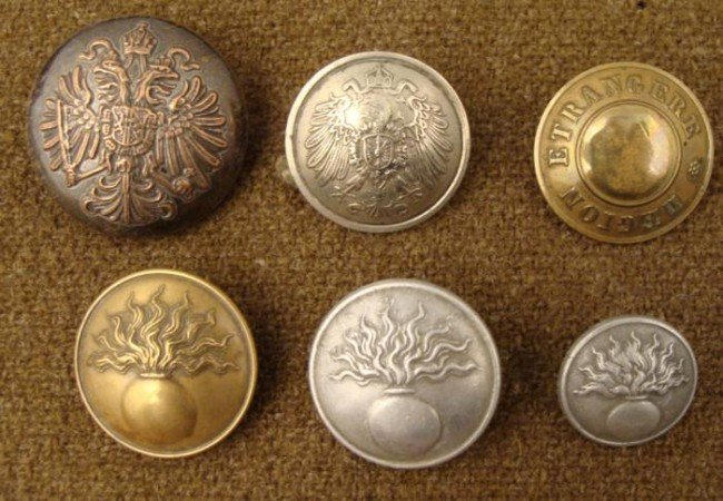 6 Austrian Military Buttons Vintage Estate Collection