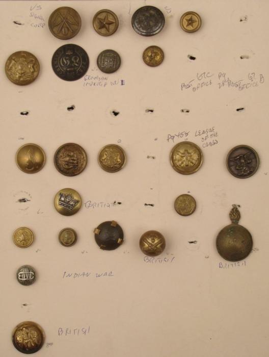 22 Vintage Buttons: German Imperial,British, Indian War