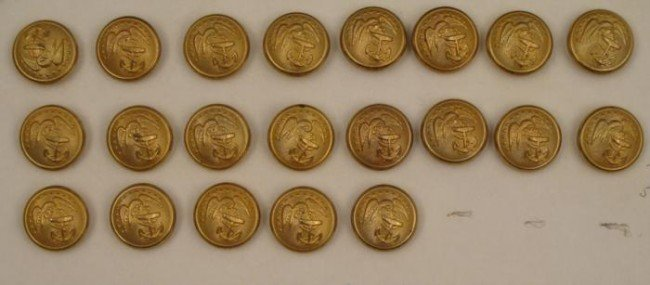 21 WWI US Marine Corps Button Collection Vintage