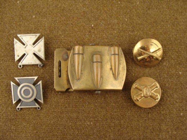4 U.S. Army Marksman Badges & Bullet Belt Buckle
