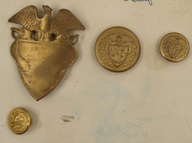 4 1884 St. Johns Military Academy Buttons Vintage
