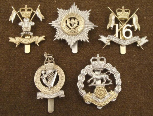 5 British Regiment Badges Victorian Royal Military
