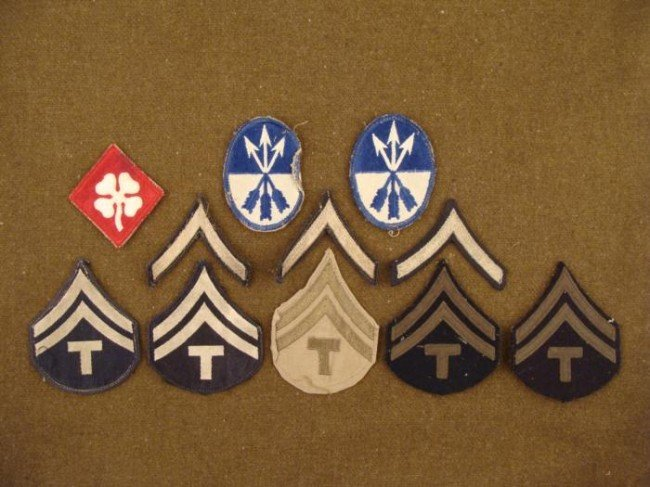 11 U.S. WWII Patches Lot Rank Insigia & Divisional