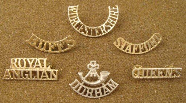 6 Victorian British Shoulder Titles Badges Royal Regime