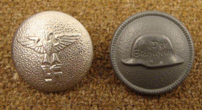 2 WWII Vintage German Nazi Buttons Coat Back, Stahlhelm