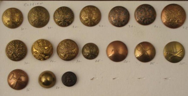 17 Russian Military Buttons Vintage Collection -Rare
