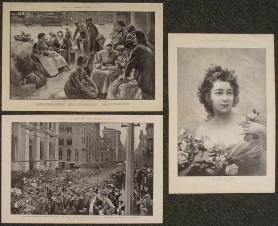 3 Antique Art Prints Black & White Newspaper Imigrants