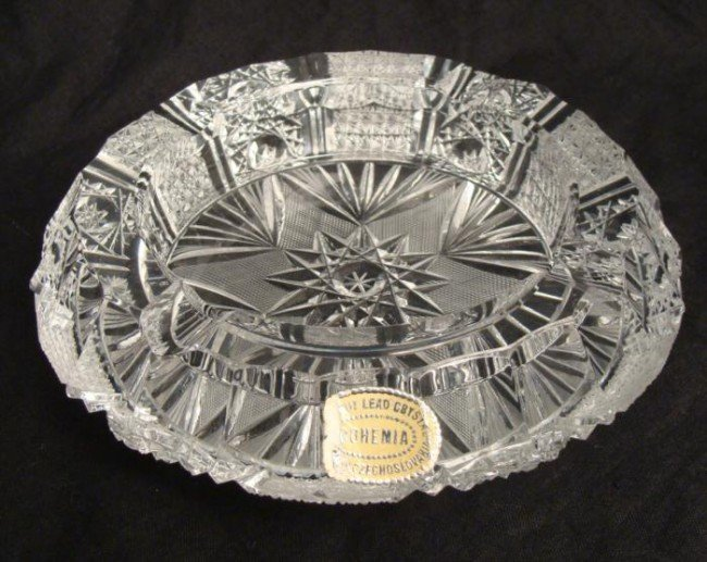 Bohemia Cut Glass Lead Crystal Vintage Ash Tray Dish