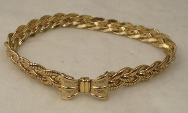 Gold Tone Rope Weave Stylish Old Woven Necklace