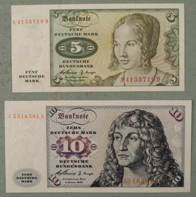 Germany 5 & 10 Deutsche Mark 1960 CU Uncirculated Bills