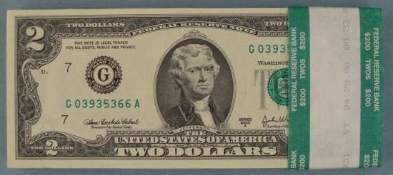 100 Consecutive $2 Chicago Bank Wrapped Notes 2003 A CU