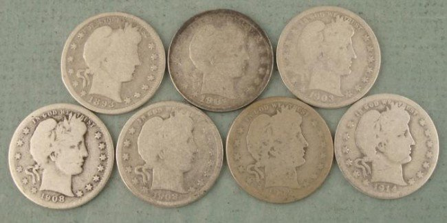 7 Different Date Barber Quarters 1893-1914