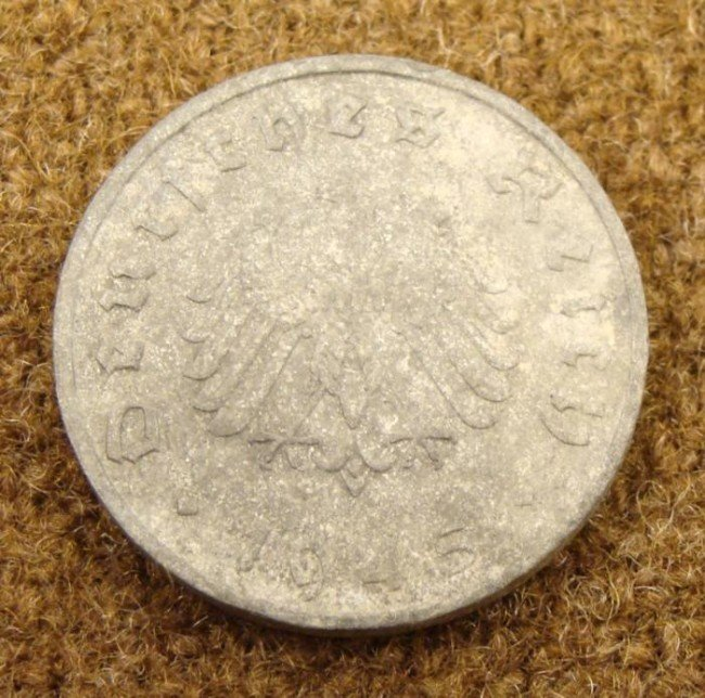 1945 NAZI END OF WAR 10 PFENNING COIN-ZINC, RARE