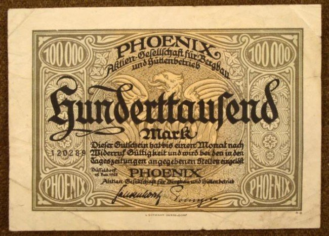 ORIGINAL 100000 MARK NOTE IPHOENIX MINING CO. PRE-NAZI