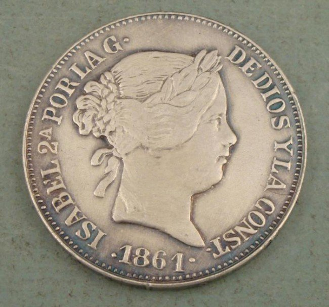 1861 Isabel 20 Reales Spain 6 pt Star -Very High Grade