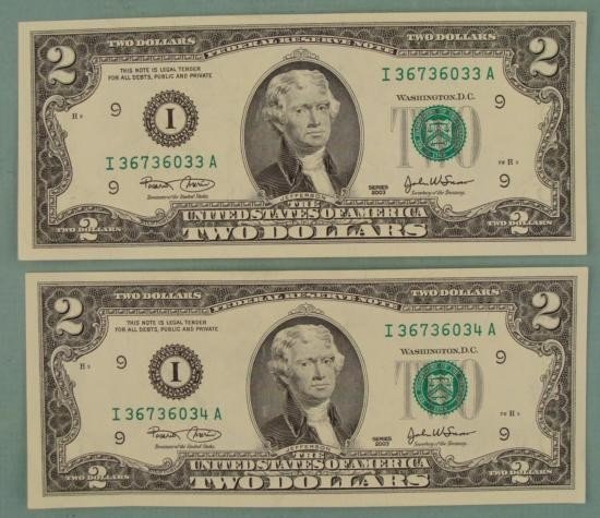 (2) CU Consec # 2003 $2 Bills Notes I Mint Minneapolis