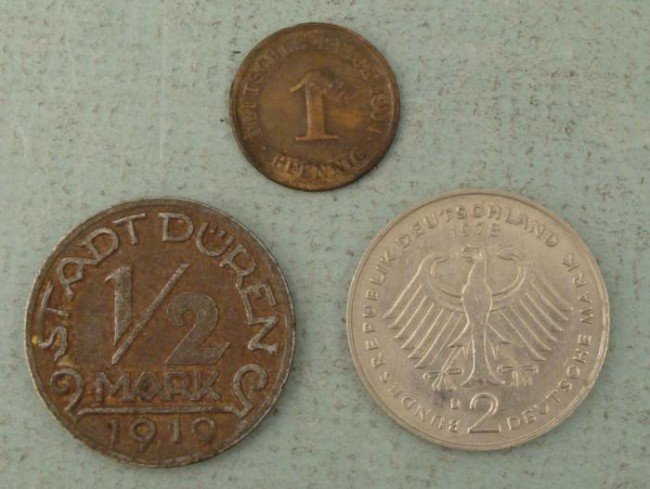 3 German Coins 1/2 Mark, Pfennig Play Money 1904-1978