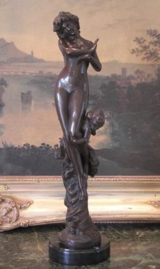 Angelic Bronze Sculpture Nude Woman & Cherub