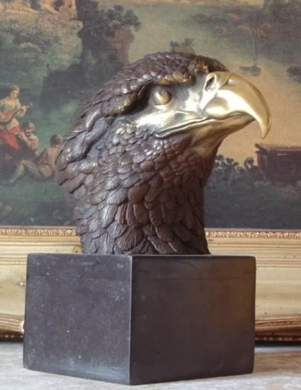 Stately Bronze Bust Sculpture Bald Eagle