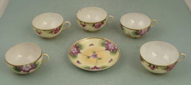 5 Pc Vintage Hand Painted Teacups Made in Japan MIJ