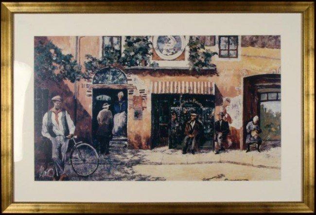 Le Buffet French Village Street Scene Art Print Framed
