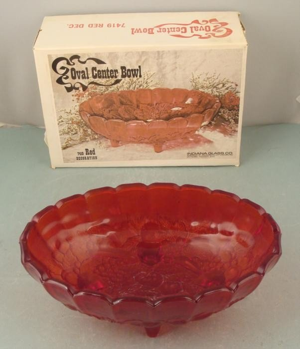 Carnival Glass Red Oval Center Bowl Vintage MIB
