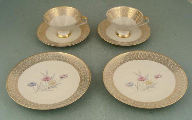 6 Pc Bavarian Gold Mid Century Modern Teacups, Plates