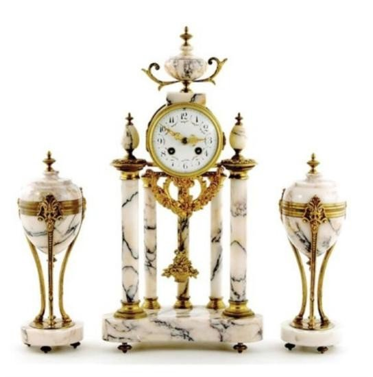 French Marble and Ormolu Portico Clock Garniture