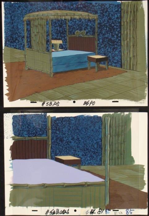 2 SpongeBob Squidward Orig Animation Backgrounds + Cel