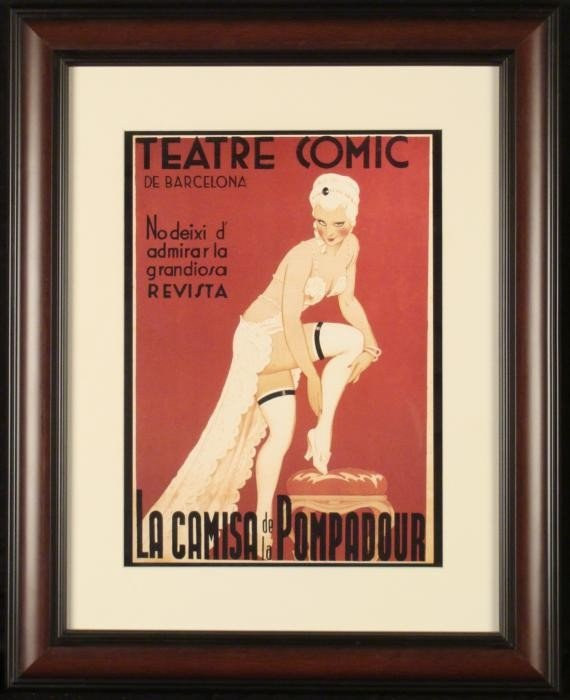 Spanish Risque Theater Art Deco Poster Comic Barcelona