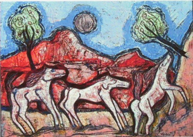 Robert Winslow Original Abstract Oil Painting Horses