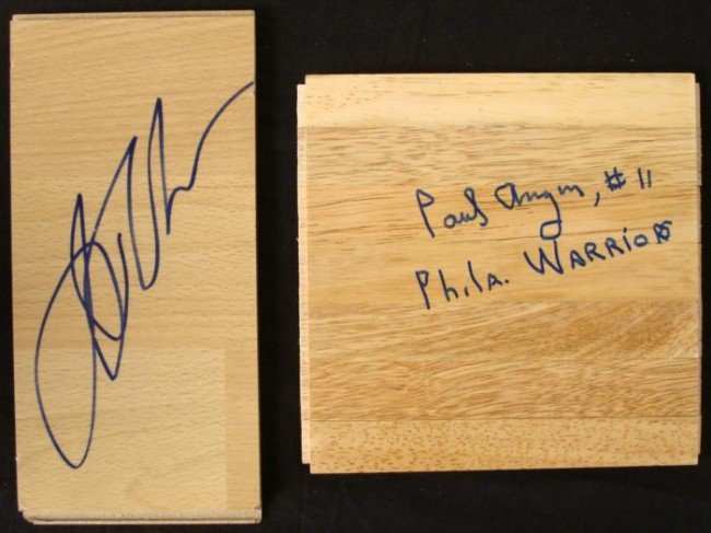 2 Warriors Signed Floor Bd Jason Richardson Paul Arizin