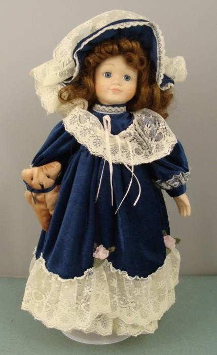 Porcelain 16 In Doll w/ Teddy Bear in Blue Velvet Dress