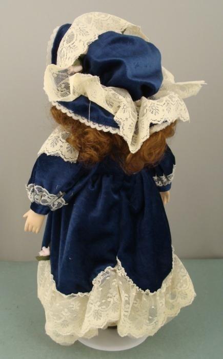 Porcelain 16 In Doll w/ Teddy Bear in Blue Velvet Dress - 2