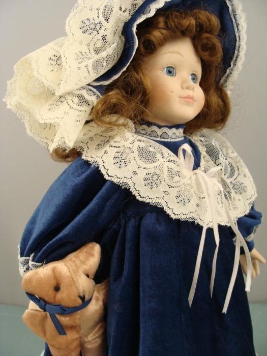 Porcelain 16 In Doll w/ Teddy Bear in Blue Velvet Dress - 3
