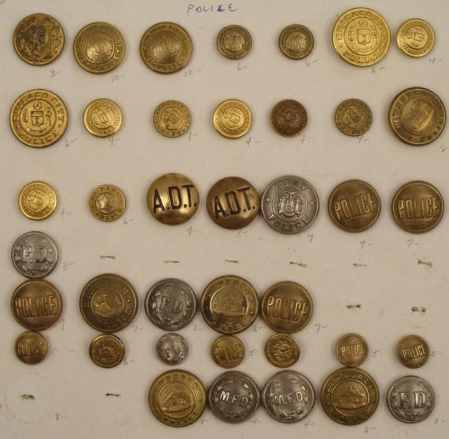 39 Antique Police and Emergency Service Buttons