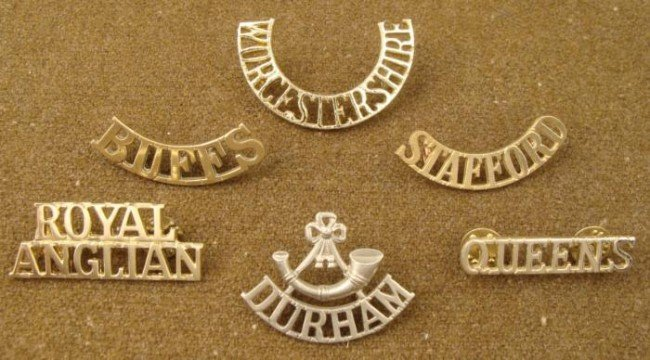 6 Victorian British Shoulder Titles Badges Royal Regime