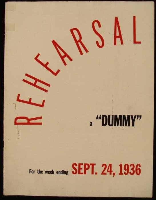 Dummy Rehearsal Issue LIFE Magazine Sept 24 1936 RARE