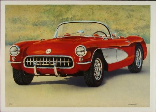 Valter de Morais Signed Corvette Art Print Red Fifties