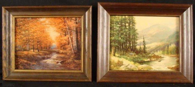2 Vintage Forest Nature Art Prints Framed R Woods