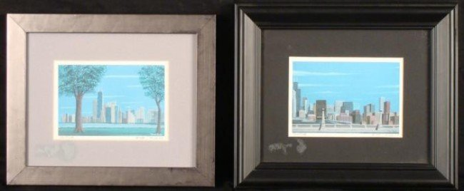 2 Chicago Skyline Art Prints Tom Tully Signed Framed