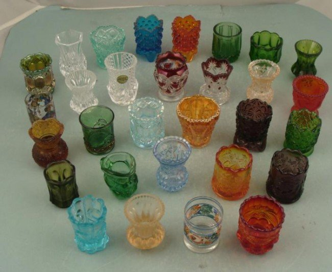 30 Pc Vintage Colored Glass Toothpick Holder Collection